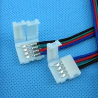 conector para rgb led strip light venda por atacado-4 Pin dois Conector com cabo para SMD LED 5050 RGB Faixa Luz