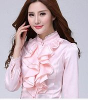 Wholesale Collar Decorated Ladies - Lace Floral Decorated Ruffled Collar Women Chiffon Shirts Size S-2XL Long Sleeved Pure Color Elegant Lady Formal Blouse