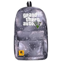 Day Packs pack man games - Multi color GTA backpack V five school bag Casual daypack Good schoolbag Grand theft auto game day pack