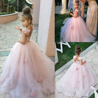 Wholesale juniors ball gowns straps - 2017 Blush Pink Flower Girl Dresses Spaghetti Straps Junior Bridesmaid Ball Gown Kids Birthday Prom Party Pageant Dresses