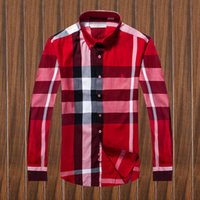Wholesale Korean Dress Xl Collar - Wholesale-New 2017 Spring Men Shirt Lattice Design Korean Style Casual Mens Plaid Shirts Man Long Sleeve 100% cotton dress shirts 605##