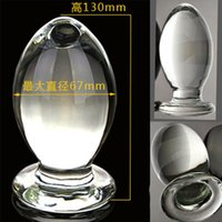 Wholesale Largest Dildo Butt Plugs - World Largest Diameter 7.5cm*15.5cm glass huge dildo glass crystal penis big anal plug shop Sex Toys For Woman butt plug anal dildo adult