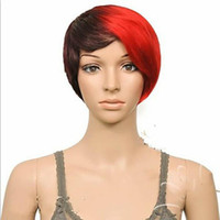 Wholesale multi color ombre hair resale online - Pixie Short Hot New Stylish Ombre Straight Multi Color Ladies Fashion Sexy Party Cosplay Synthetic Hair Wigs Wig In Stock