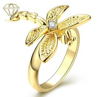 Wholesale Means Ring - Dragonfly Meaning Ring Trendy 18K Gold Plated with Cute Animal Shape Inlaid Cubic Zirconia Rings Fashion Jewelry for Women Girls