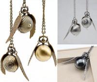 Wholesale Golden Snitch Pocket Watch - Wholesale 200pcs lot mix 6Colors harry potter golden snitch necklace Harry Potter wings necklace necklace ball quartz pocket watch PW063