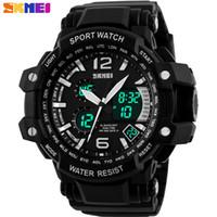 Wholesale Led China Watches - SKMEI 2016 New china Brand Men fashion sports Watches analog digital LED display 50M waterproof Wristwatches chronograph PU band