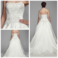 Wholesale Tulle Underlay Dress - 2016 Satin Ball Gown Wedding Dresses Strapless neckline with beaded bodice and tiered with tulle underlay Lace up Back CKP627 gowns