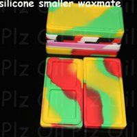 Wholesale Small Container Wholesalers - 5pcs Small Waxmate Containers Silicone Rubber Silicon Storage Square Shape Wax Jars Dab Tool Dabber Oil Holder for Vaporizer Ecig Dry Herb