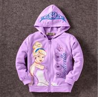 Wholesale Multi Colour Jacket - Pretty Girls Hoodies Cinderella 4 Colours 100% Cotton Jackets Childrens Warm Sweatshirts Kids hoodies Girls Coats