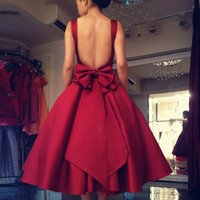 Wholesale Short Purple Classy Dresses - 2016 Simple Classy Cocktail Dresses Scoop Backless Burgundy Big Bow Puffy Skirt Short Prom Dresses vestidos de graduacion cortos homecoming