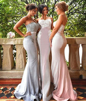 Wholesale Satin Slim Bridesmaid Dresses - 2017 Sexy Country Slim Sheath Mermaid Bridesmaid Dresses Sweetheart Lace Sequin Sleeveless Backless Sweep Train Bridesmaids Gown