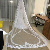 Best Selling Luxury Real Image Wedding Veils Three Meters Long Veils Lace Applique Crystals Two Layers Cathedral Length Cheap Bridal Ve