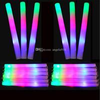 Wholesale Led Flashing Foam Glow Stick - LED Colorful rods led foam stick flashing foam stick, light cheering glow foam stick concert Light sticks EMS C1325