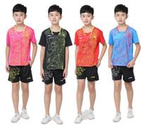 masa tenisi mayo gömlekleri toptan satış-Li Ning Çin ejderha Çocuk badminton kısa kollu gömlek, çocuklar badminton masa tenisi forması, astar Çin ejderha tenis XS-3XL suits
