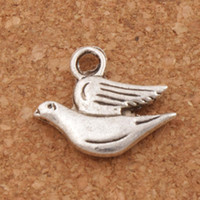 Barato Pulseira Pingente De Paz-Fat Peace Dove Flying Charm Beads 100pcs / lot Antique Silver Pendants Fashion Jewelry DIY Fit Braceletes Colar Brincos L184