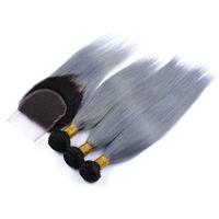 gri ombre örgü toptan satış-3 adet 1b gri ombre ipeksi düz İnsan saç demetleri ile dantel kapatma 4x4 koyu kökleri şerit gri ombre iki ton saç örgü uzantıları