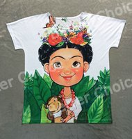 Wholesale Batwing Toy - Track Ship + Vintage Retro T-shirt Top Tee Mexico Cartoon Painting Cute Frida Kahlo Butterfly Flower Monkey Toy 0772