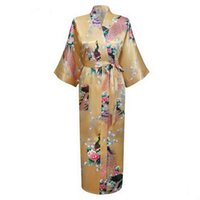 Wholesale Chinese Woman Sexy Lingerie - Wholesale-Fashion Gold Chinese Women Silk Satin Robe Gown Sexy Lingerie Long Nightgown Flower Bat-wing Sleeve Size S M L XL XXL XXXL A-032
