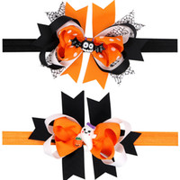Wholesale Halloween Hair Bow Ribbon - Baby Hair Accessories Infant Halloween Bats Bow Headbands Girls Ribbon Boutique Bow Hairbands Childrens Elastic Headwear