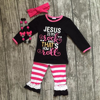 "Wholesale Kids Rocking - 2017 new Fall Winter design ""Jesus is my rock"" stripes pants baby kids girls boutique clothing with matching accessories"