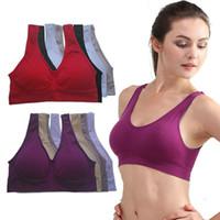 xs bras toptan satış-Toptan-Sıcak Yaz Kadın Spor Sutyen Yelek Yastıklı Mahsul Tops İç Çamaşırı 7 Renkler Hiçbir Tel-jant Bras