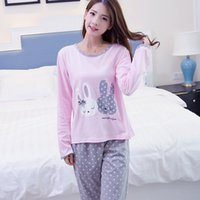 Wholesale womens cotton pajamas - Wholesale- Womens Pajamas Sets Promotion 2016 Casual Long Sleeve O-Neck Lady Cotton Pajamas Women Autumn Sleepwear Rabbit Pattern Nightwear