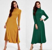 Wholesale Vintage Yellow Green Long Women Casual Maxi Dresses Clothes New Winter Tea Length High Neck Long Sleeves Ladies Bodycon Dress FS0335