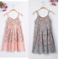 Wholesale Gray Pink Girls Dress - Everweekend Girls Lace Suspend Dress Halter Pink and Gray Color Princess Autumn Summer Party Dress Fashion Children Dress