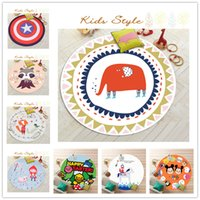 Wholesale 60 cm Flannel Kids Bedroom Cartoon Carpet Colors Doormat Living Area Rugs Mickey Captain America Printing Round Carpets Mats