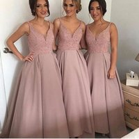 Wholesale Evening Bling Top - 2017 Latest Design A Line Maid of Honor Bridesmaids Dresses Sexy V Neck Bling Sequins Top Long Formal Evening Party Wedding Guest Dresses