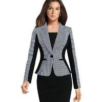 Wholesale Plaid Blazer Women - Plaid Blazers Women's Fomal Clothes Long Sleeve Slim Black White Contrast Color Ladies Suits Fashion Lapel Neck Work Women Tops Autumn