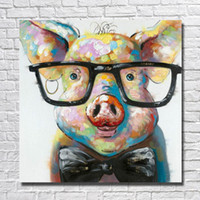 Wholesale decorative glass wall art - Modern Canvas Art Hand made Pig with Glasses Oil Painting Wall Art Home Decorative Modern Living Room Wall Pictures 1 Peices No framed