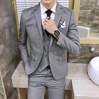 Wholesale Tuxedos Colors Groomsmen - 6 Colors Light Gray Slim Groomsman Back Vent Best Man Suit Wedding Men's Suits Bridegroom Tuxedos (Jacket+Pants+Tie+Vest) 2017