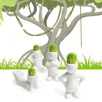 Wholesale Types Flower Pots - Artificial Greenery Mini Ceramic Pots Ceramic Planters Office Mini Planting Green Grass Plants Planter White Planting Pot With Soil 4 Types