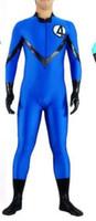 Wholesale Back Zip Catsuit - Adult Fantastic 4 Men Halloween cosplay costumes Royal blue and black Lycra Spandex AAK Back Zip, unisex ,