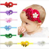 Wholesale rosette bows - Baby Girls Headbands bows infants Hairbands Newborn Baby Headbands Flowers Children Kids Hair Accessories satin rosette fabric Bands KHA144