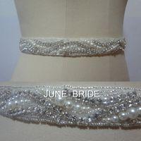 Wholesale Elegant Beaded Satin Wedding Dress - New Style Elegant Pearl Crystal Wedding Sash High Quality Real Photo Rhinestone Bridal Belt Sashes 100% Same As Image Dress Accessories Hot
