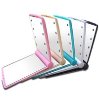 Wholesale ladies hand mirror - Lady Makeup Mirror With 8 LED Lights Folding Portable Compact Pocket Hand Luminous Lamps Mirrors Beauty Cosmetic Look Glass 9jy F R