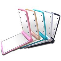 espelho de mão conduzido venda por atacado-Lady Maquiagem Espelho Com 8 Luzes LED Dobrável Portátil Compacto de Bolso Mão Luminosa Lâmpadas Espelhos Beleza Cosméticos Look Glass 9jy F R