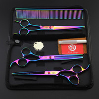 Wholesale Dog Grooming Thinning Shears - 7.0 inch Pet Scissors Dog Grooming Scissors Set Straight & Curved & Thinning Shears Sharp Edge Animals Hair Cutting Clipper Tools Kit