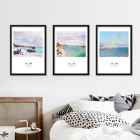 Wholesale Framed Paintings Landscape - 35*50Cm Living Room Decoration Wall Art Decor Modern Wall Paintings Framed Simplicity Household Abstract Landscape Monet Paintings