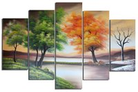 Wholesale Hand Made Landscape - Modern Wall Art Home Decoration Four Seasons Landscape Canvas Art Hand Made Framed Oil Painting 5 Panel