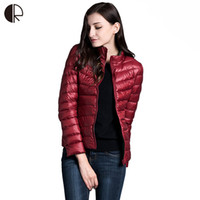 Wholesale White Duck Feathers - Wholesale-Feather Jackets Women 2016 90% White Duck Down Ultra Light Down Jacket Feather Parkas Two Sides Wear Famous Brand Coat WC1429