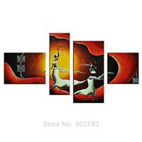 afrikanischen landschaftsmalereien großhandel-4 Panel Afrikanische Bilder Leinwand Wandkunst Moderne Abstrakte Landschaft Ölgemälde Afrikanische Tänzer Figur Kunst Malerei Handgemalt