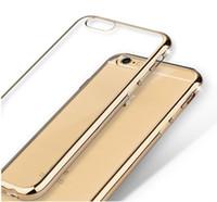iphone 5s gold için tampon toptan satış-Ultra ince İnce Buzlu Mat Durumda Elektrolizle Yumuşak TPU Şeffaf şeffaf Kapak Cilt iPhone 7 için 8X6 6 S artı 5 5 s se Altın Tampon