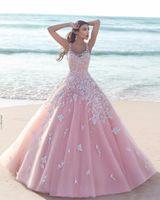 ingrosso fiori di olivo-Principessa floreale fiore rosa Ball Gown Quinceanera Abiti 2019 Applique Tulle Scoop senza maniche Corpetto in pizzo abiti da ballo lunghi Partito formale