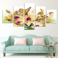 sarı çiçekler duvar sanatı toptan satış-Moda 5 Panel Sıcak Satmak Modern Duvar Boyama sarı çiçekler soyut Ev Wall Art Resim Kanvas Baskılar sanat orkide Yok çerçeve