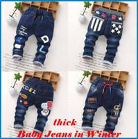 ingrosso jeans pants dhl-i pantaloni dei capretti ragazzi Jeans dei ragazzi dei capretti I nuovi bambini dei jeans dei bambini di inverno dei pantaloni Jeans spessi e stampa del fumetto dei bambini del cotone ouc021 DHL