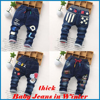 Wholesale High Waist Kids Trousers - kids pants boys Girl Boys' Jeans Baby New Winter Children Jeans Trousers Thick Jeans And Cotton Children's Cartoon Printing ouc021 DHL