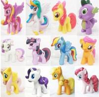 pvc 12 pcs al por mayor-12 unids / set 3-5 cm lindo pvc caballo acción juguete figuras juguete muñeca Tierra ponis Unicornio Pegasus Alicorn Bat ponis Figura Muñecas Para Gir